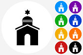 Synagogue Icon on Flat Color Circle Buttons