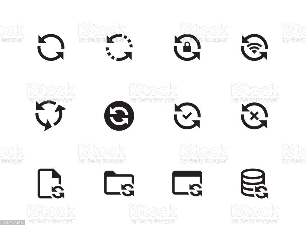 Synchronization icons on white background. Vector illustration vector art illustration
