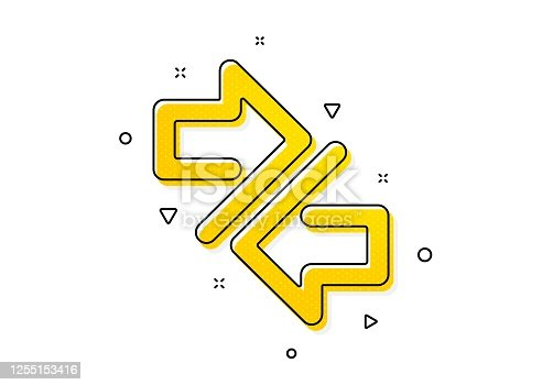 Communication Arrowheads symbol. Synchronize arrows icon. Navigation pointer sign. Yellow circles pattern. Classic synchronize icon. Geometric elements. Vector