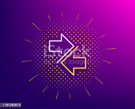 Synchronize arrows line icon. Halftone pattern. Communication Arrowheads symbol. Navigation pointer sign. Gradient background. Synchronize line icon. Yellow halftone pattern. Vector