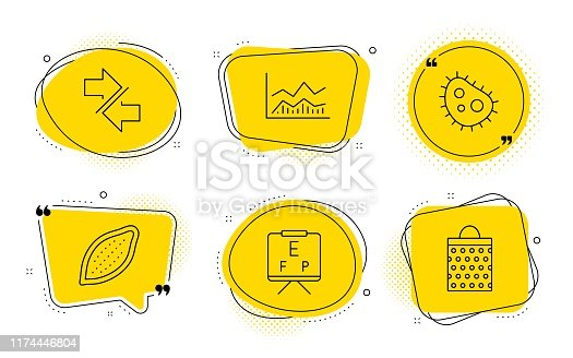Bacteria, Trade infochart and Shopping bag signs. Chat bubbles. Synchronize, Cocoa nut and Vision board line icons set. Communication arrows, Vegetarian food, Eye check. Antibacterial. Vector
