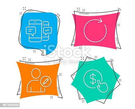 Set of Synchronize, Smartphone sms and Edit user icons. Buy currency sign. Refresh or update, Mobile messages, Profile data. Money exchange.  Flat geometric colored tags. Vivid banners. Vector