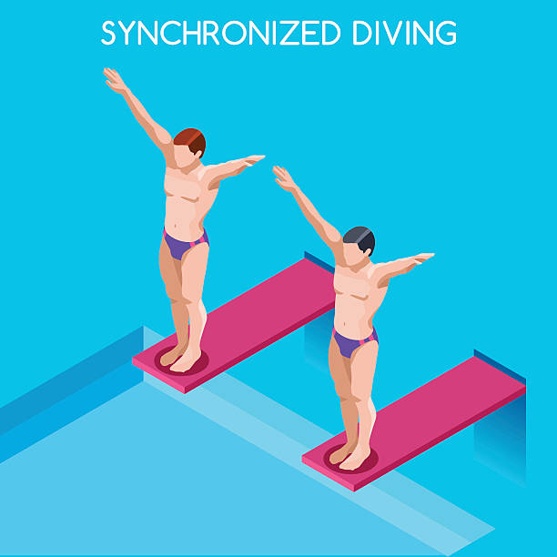 Synchronized Diving Athletes Isometric Sport International Diver Swimmer Competition Race Synchronized Diving  Summer Games Icon Set.3D Isometric Diver Sporting Competition Race.Sport Infographic Diving Vector Illustration loon bird stock illustrations
