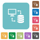 Syncronize data with database rounded square flat icons