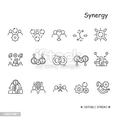 Synergy line icons set. Human, corporate, marketing, cost, revenue, operating financial and other types of synergies in business and communities. Isolated vector illustrations. Editable stroke