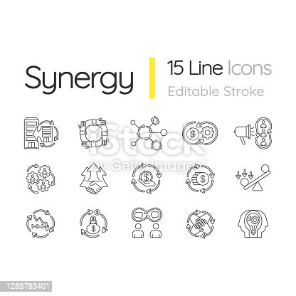 Synergy linear icons set. Business project. Financial operation. Interpersonal relationship. Customizable thin line contour symbols. Isolated vector outline illustrations. Editable stroke