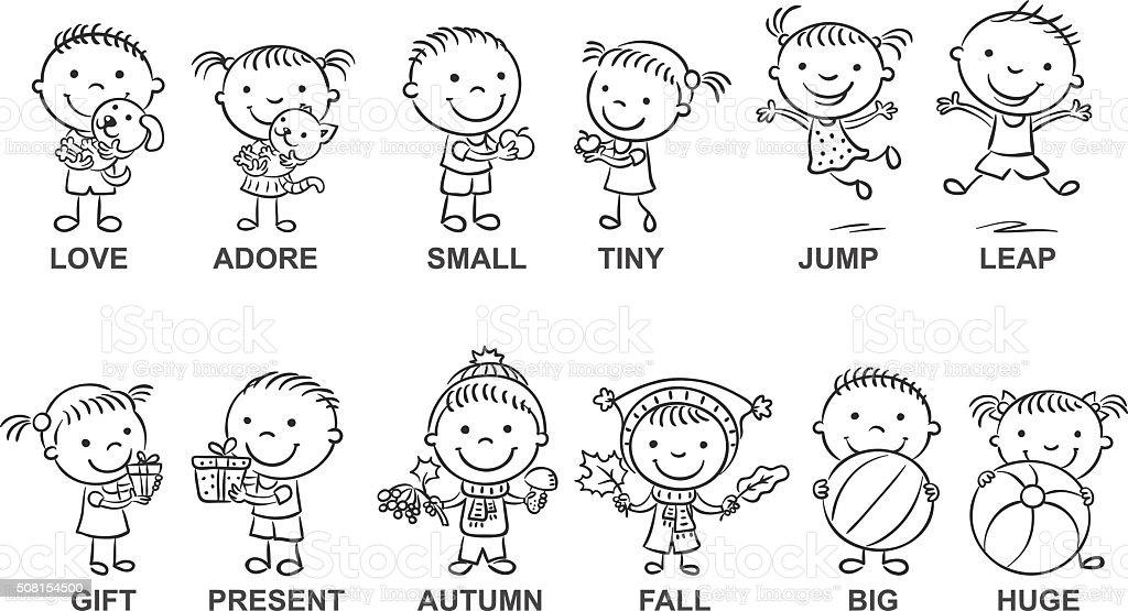 Ilustración de Sinónimos Dibujos Animados Blanco Y Negro y más banco ...