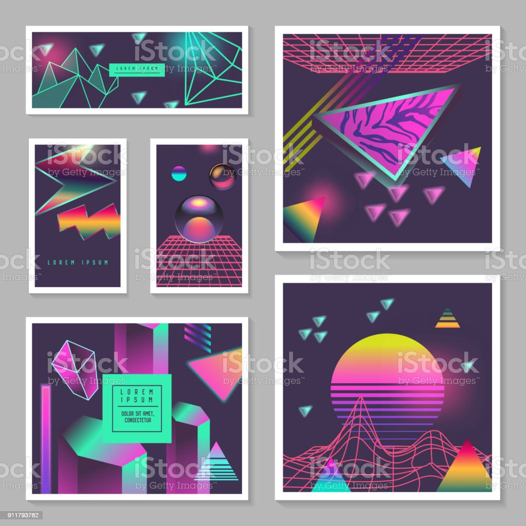 Synth Wave Poster Templates Set. Futuristic Background with Neon Glowing Geometric Elements. Holographic Design for Banners, Fabric, Flyers. Vector illustration vector art illustration