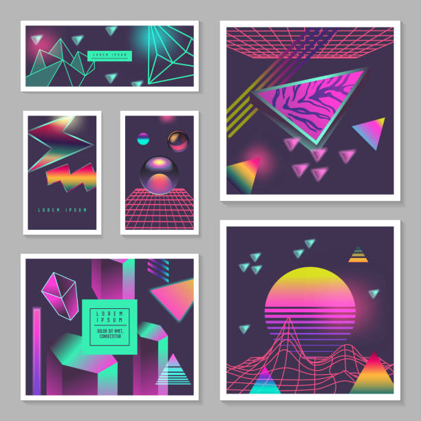 synth wave poster templates set. futuristic background with neon glowing geometric elements. holographic design for banners, fabric, flyers. vector illustration - 1990s style stock illustrations