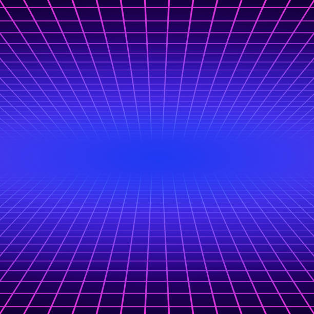 synth wave retro grid background. synthwave 80s vapor vector game poster neon futuristic laser space arcade - szałowy stock illustrations