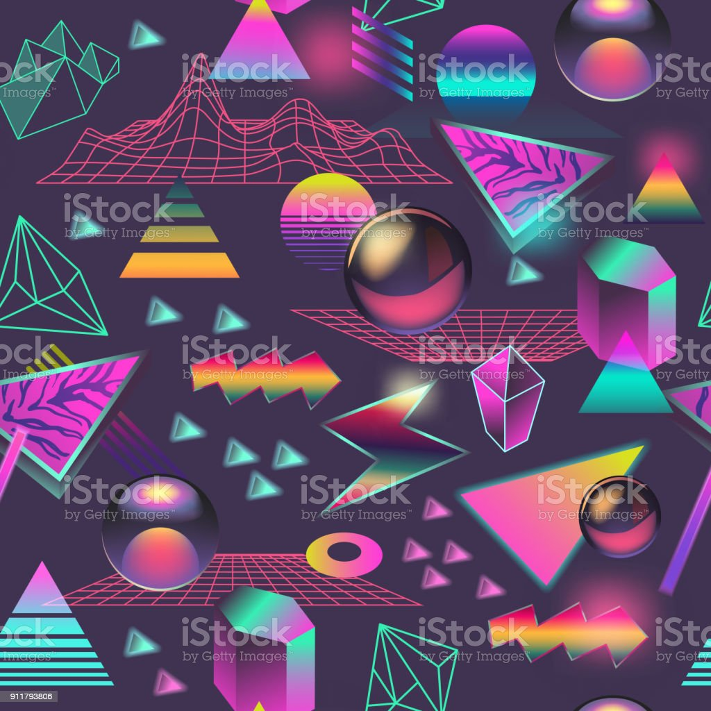 Synth Wave Seamless Pattern. Futuristic Background with Neon Glowing Geometric Elements. Holographic Design for Posters, Banners, Fabric. Vector illustration vector art illustration