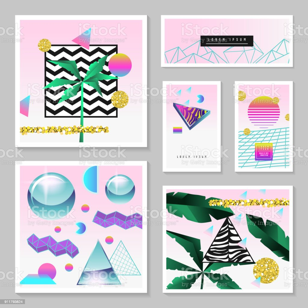 Synth Wave Tropical Poster Set. Futuristic Background with Geometric Elements. Holographic Design for Posters, Banners, Fabric. Vector illustration vector art illustration