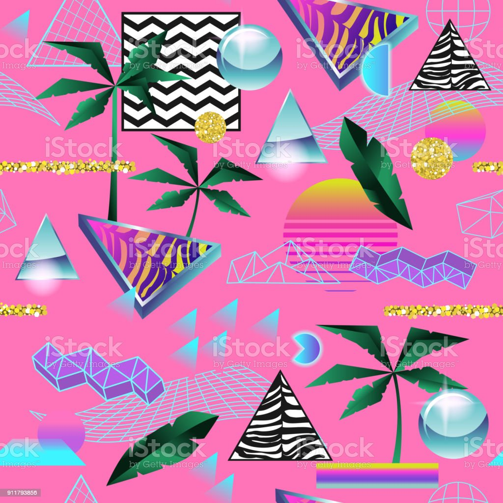 Synth Wave Tropical Seamless Pattern. Futuristic Background with Neon Glowing Geometric Elements. Holographic Design for Posters, Banners, Fabric. Vector illustration vector art illustration