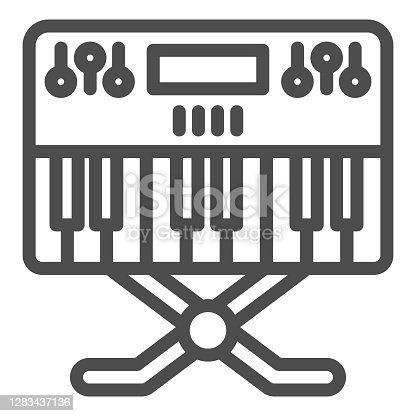 istock Synthesizer line icon, Sound design concept, synth sign on white background, music synthesizer icon in outline style for mobile concept and web design. Vector graphics. 1283437136