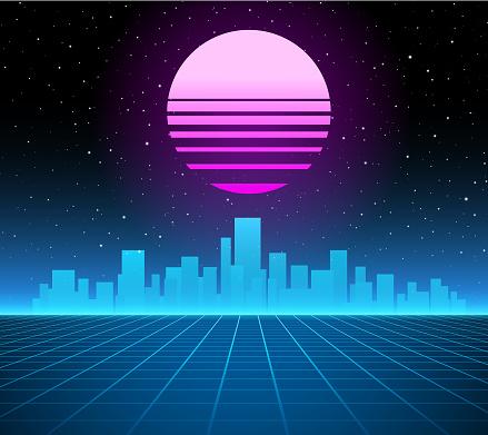 Synthwave retro background - city