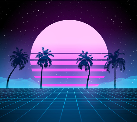 Synthwave retro background - palm trees