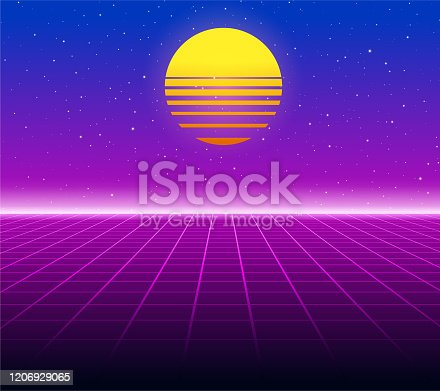 Synthwave retro background