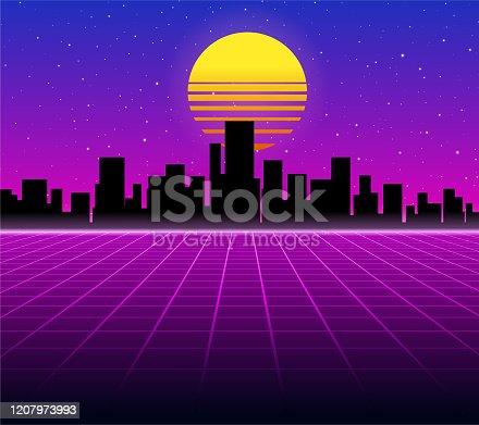 istock Synthwave retro background 1207973993