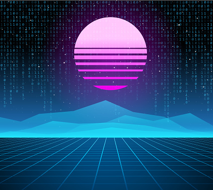 Synthwave retro background