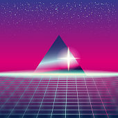 Synthwave Retro Futuristic Landscape With Pyramids And Styled Laser Grid. Neon Retrowave Design And Elements Sci-fi 80s 90s Space. Vector Illustration Template Isolated Background