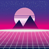 Synthwave Retro Futuristic Landscape With Pyramids Sun And Styled Laser Grid. Neon Retrowave Design And Elements Sci-fi 80s 90s Space. Vector Illustration Template Isolated Background