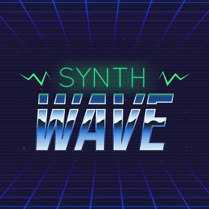 Synthwave retro futuristic logo. Synthwave music logo design. 80's style label. Trendy retro 1980s logo design. Vector Print for T-shirt, typography.