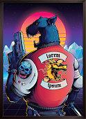 80's style poster, retrowave illustration