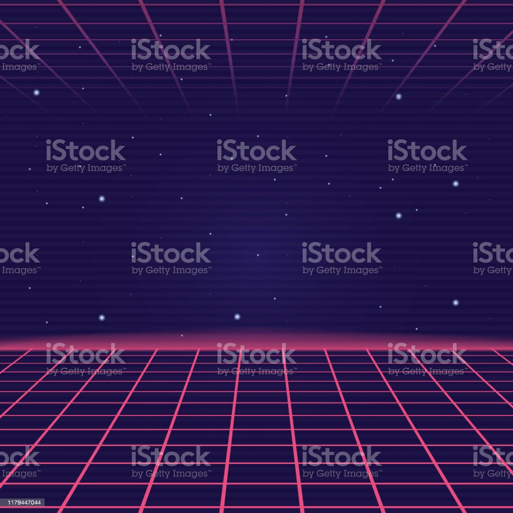 Synthwave Vaporwave Background With Laser Grid Retro Futuristic