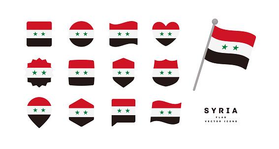 Syria flag icon set vector illustration