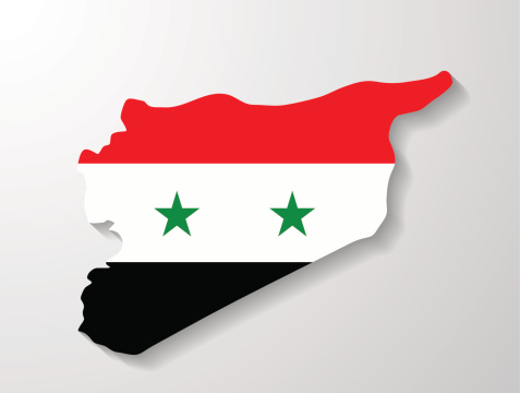 Syria  flag map with shadow effect