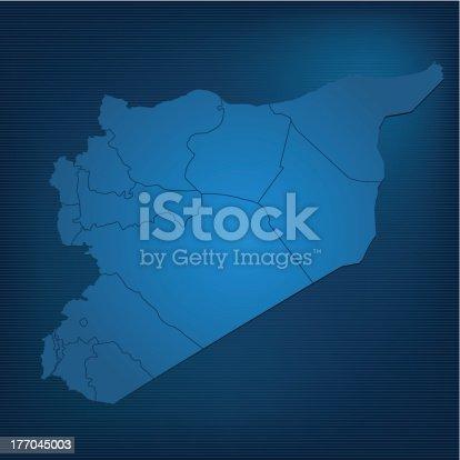 Syria map blue