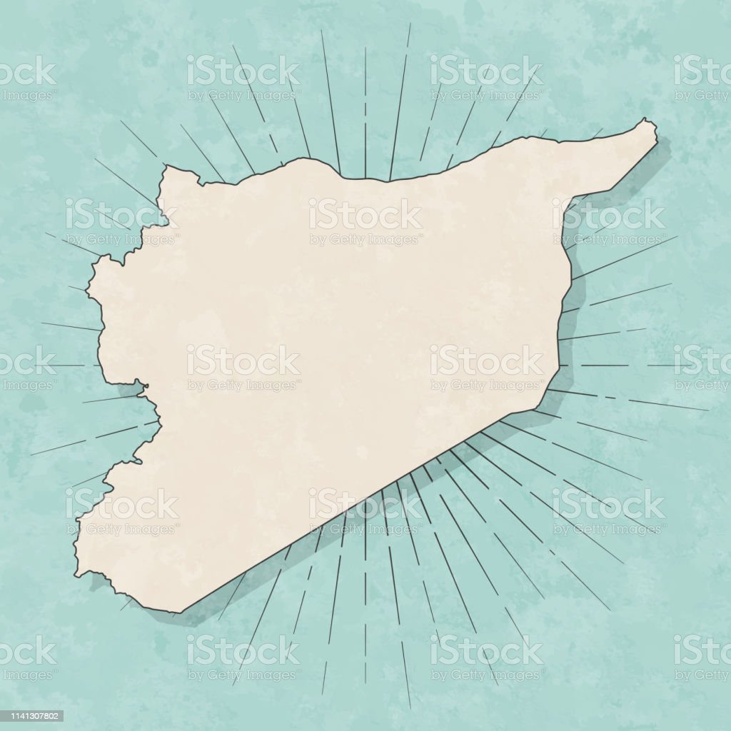 Map of Syria in a trendy vintage style. Beautiful retro illustration...