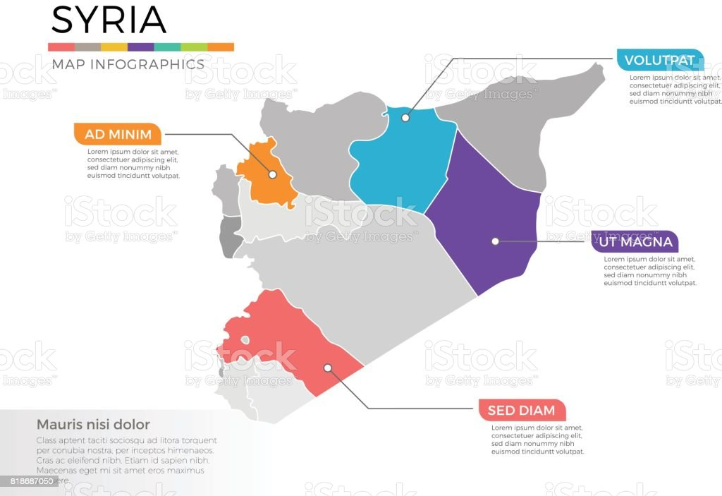 Syria Map Infographics Vector Template With Regions And Pointer Marks