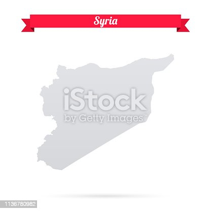 istock Syria map on white background with red banner 1136780982