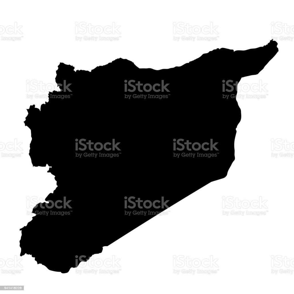Syria map silhouette in black on a white background isolated stock map painted image planet earth world map asia syria map silhouette in black on a white gumiabroncs Gallery