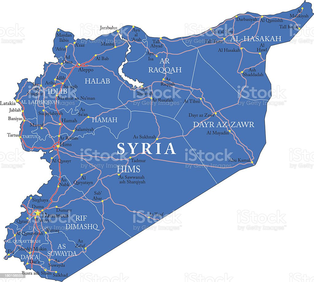 Mapa de Siria - ilustración de arte vectorial