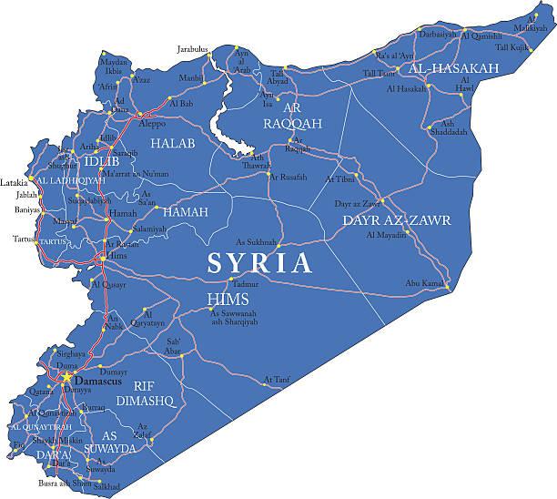 ilustraciones, imágenes clip art, dibujos animados e iconos de stock de mapa de siria - mapa de oriente medio