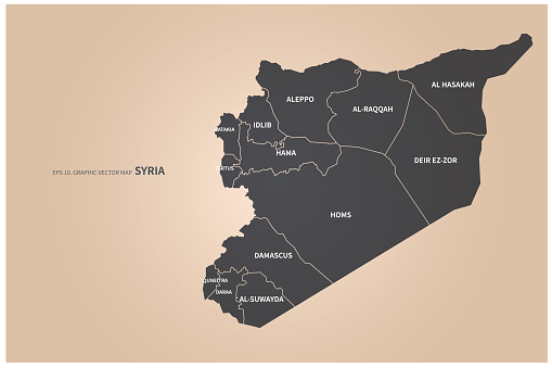 syria map. vector map of syria in middle east.