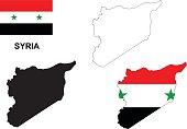 Syria map vector, Syria flag vector, isolated Syria