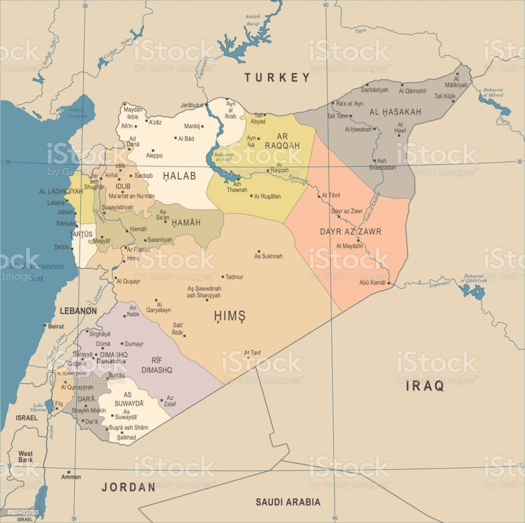 Syria Map Vintage Detailed Vector Illustration Stock Vector Art - Qamishli map
