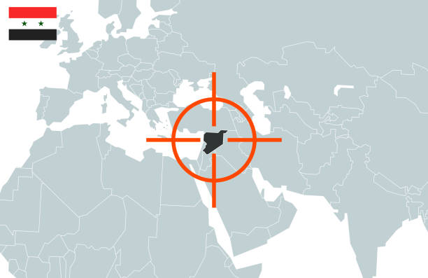 syria on world map in perspective. vector illustration - target australia stock illustrations