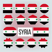 Syria Various Shapes Vector National Flags Set