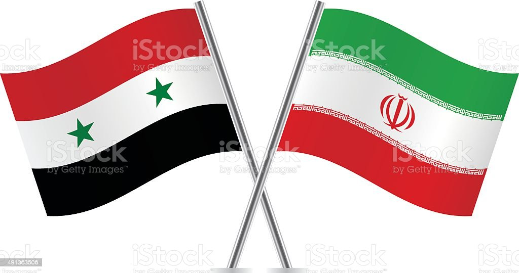 Sírio e iraniano flags. Vetor. - ilustração de arte em vetor