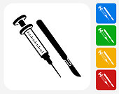Syringe and Scalpel Icon Flat Graphic Design