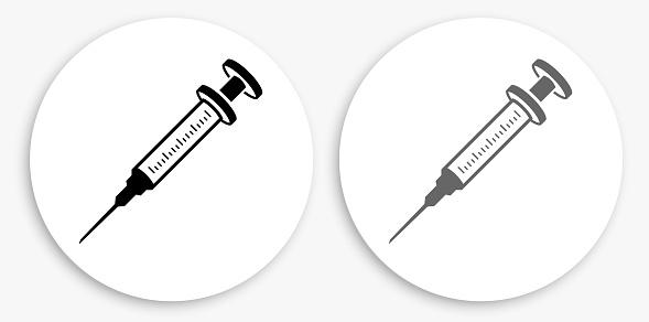 Syringe Black and White Round Icon