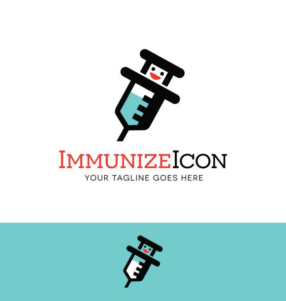 Syringe icon design. Syringe character icon design. Concept for immunizations, medicine or pharmacy. Vector illustration. flu vaccine stock illustrations
