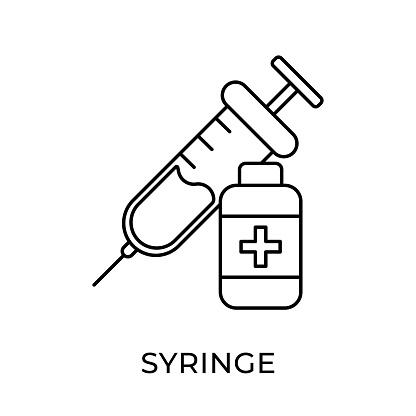 Syringe icon vector illustration. Medical Syringe vector icon template. Syringe icon design isolated on white background. Syringe vector icon flat design for website, logo, sign, symbol, app, UI.