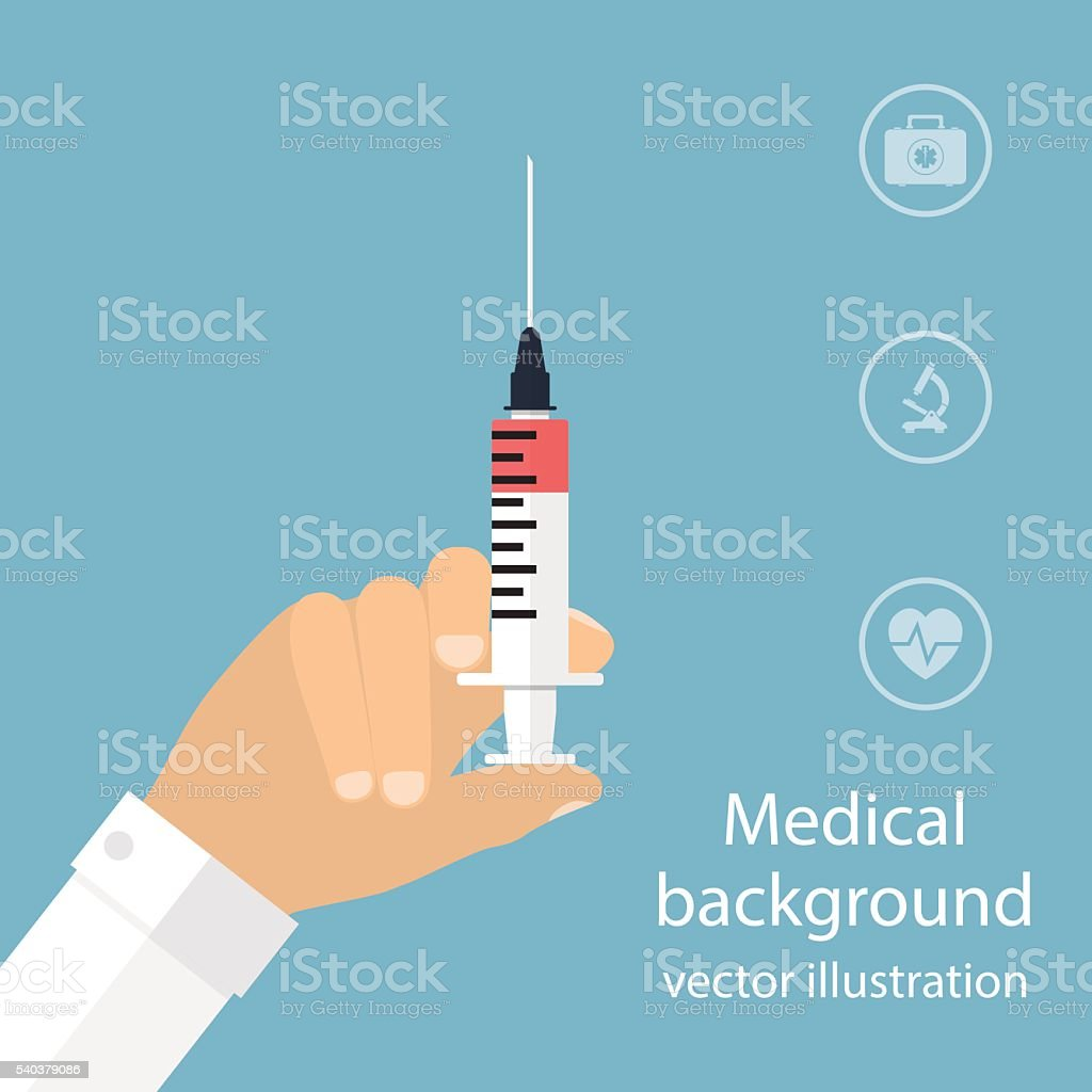 Syringe in doctor hand. flat design. vector illustration for web vector art illustration