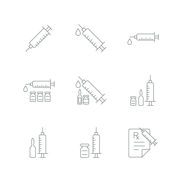illustrazioni stock, clip art, cartoni animati e icone di tendenza di syringe injection icon - ago