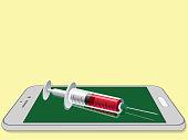 syringe put on smartphone